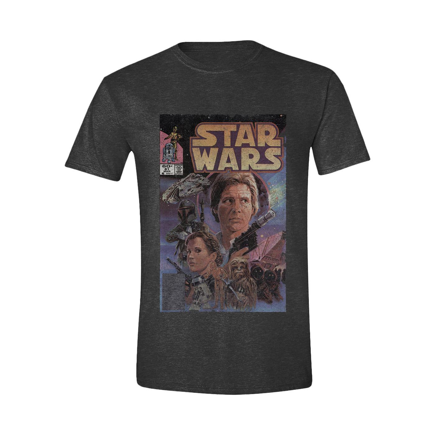 Time City Star Wars Han Solo Retro Anthracite Melange Black Men'S T-Shirt L