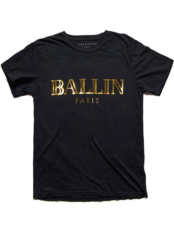 Alex & Chloe Ballin Paris Black/Gold Tshirt Xl