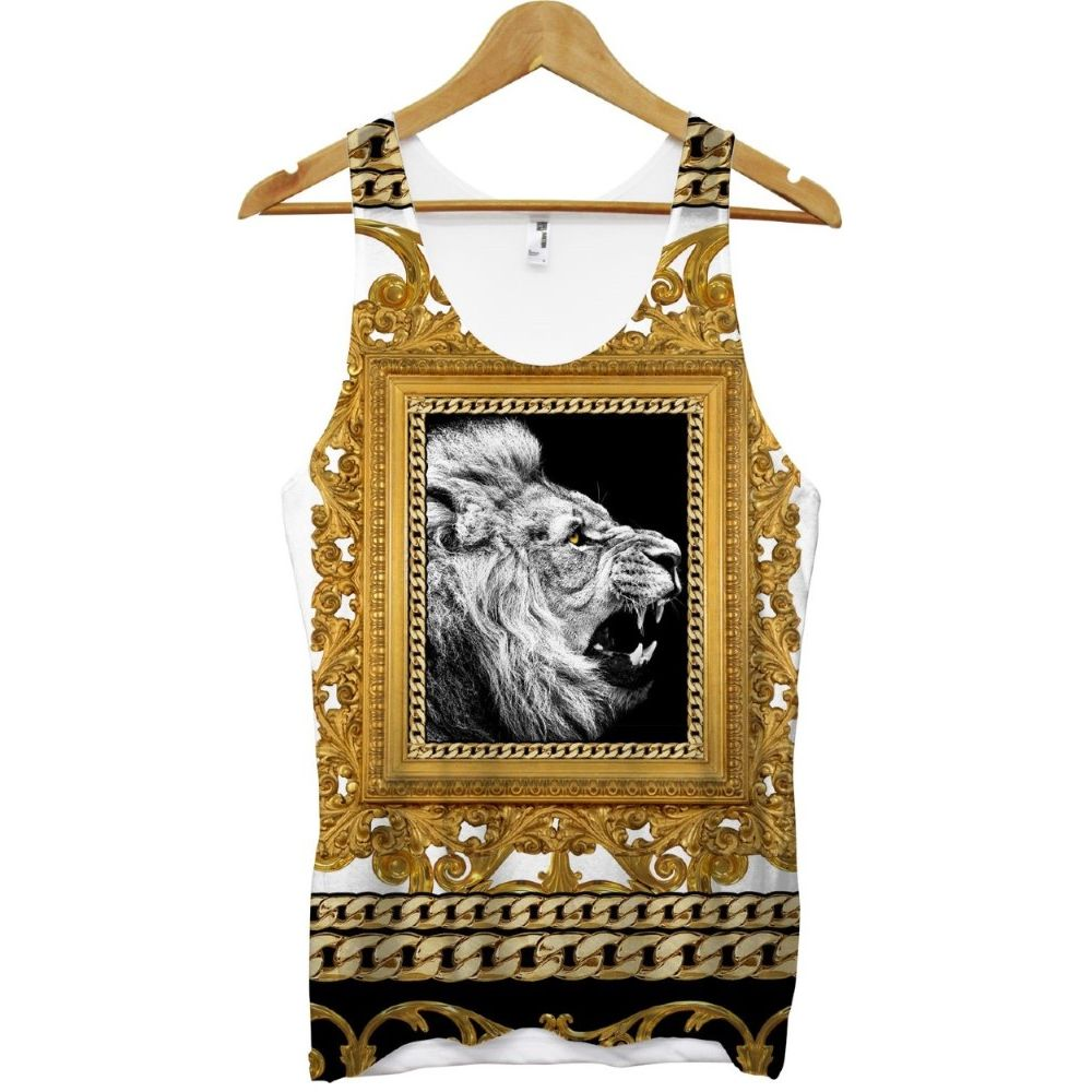 Lion Gold Chains Frame All Over White Unisex Vest L
