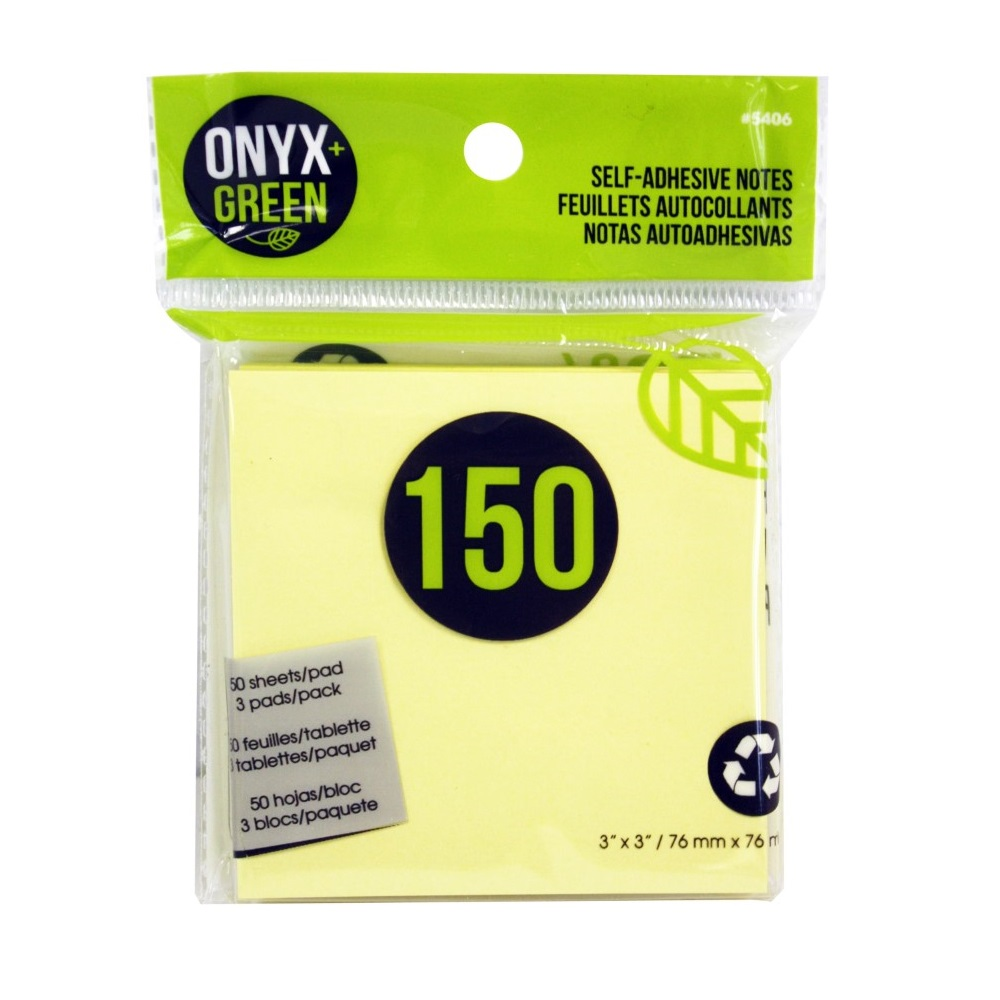 Onyx + Green Self-Adhesive Notes Yellow 3 x 3 cm [Pack of 3]