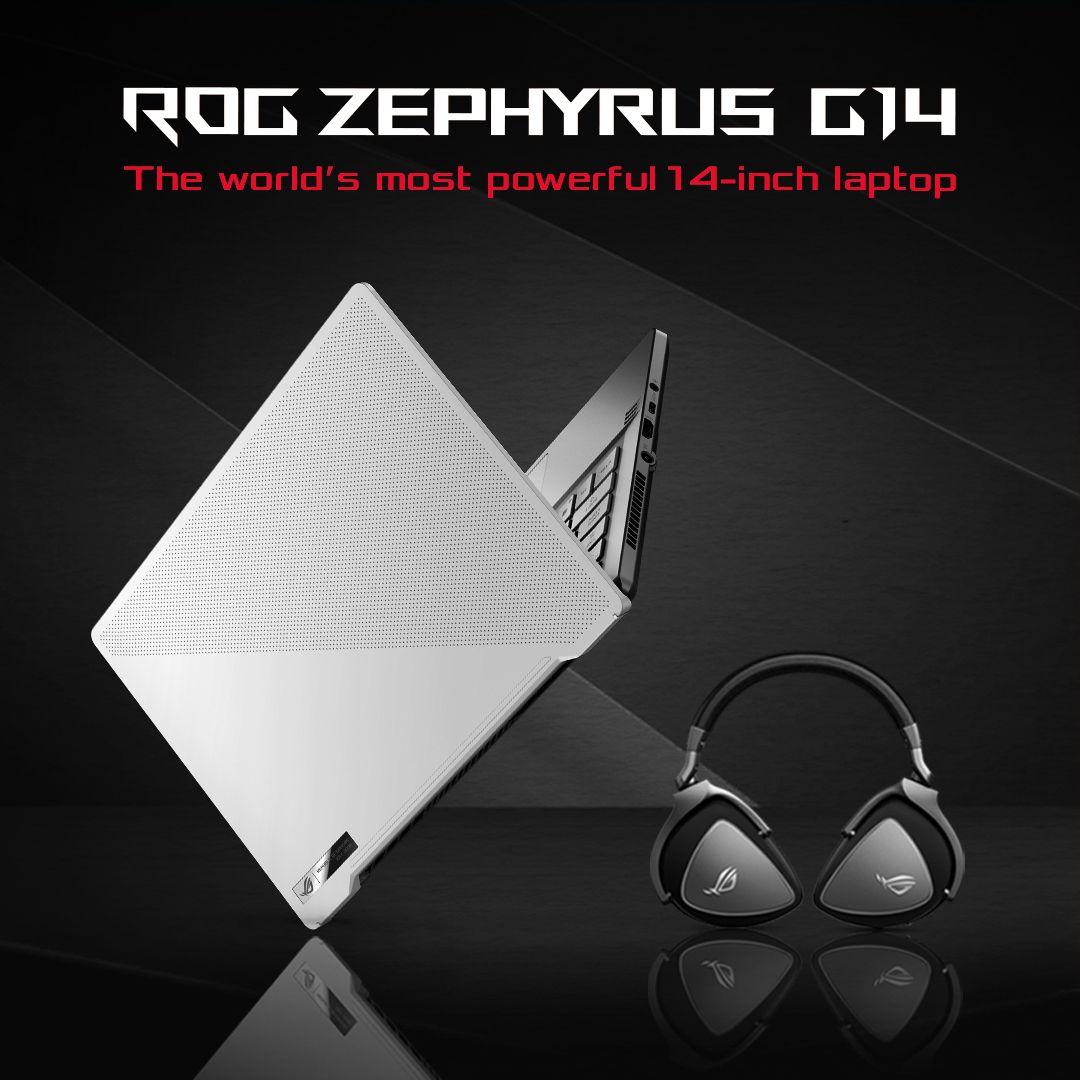 "ASUS ROG Zephyrus G14 Gaming Laptop White AMD Ryzen9 4900HS 3.0GHz/16 GB/1 TB SSD/NVIDIA GeForce RTX2060 6 GB/14"" WQHD/Windows 10"