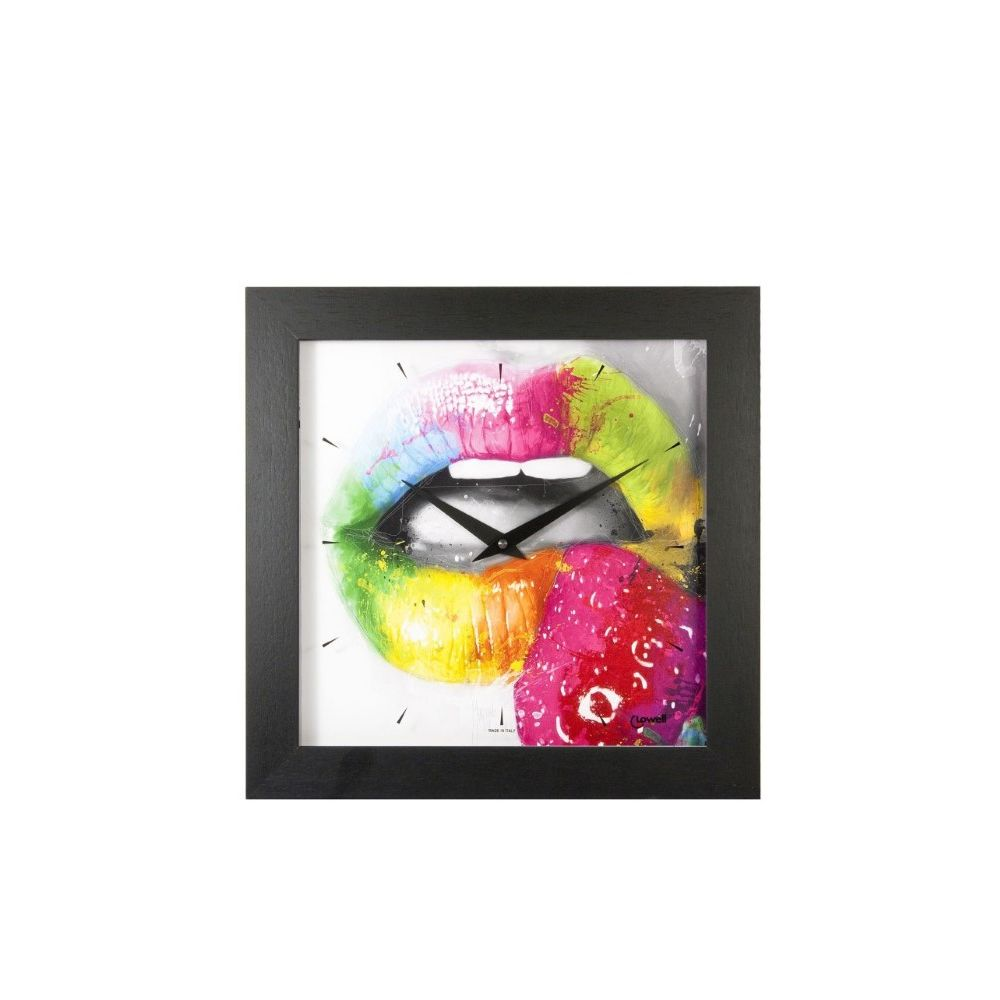 Lowell Colorful Lips Quartz Clock With Black Frame