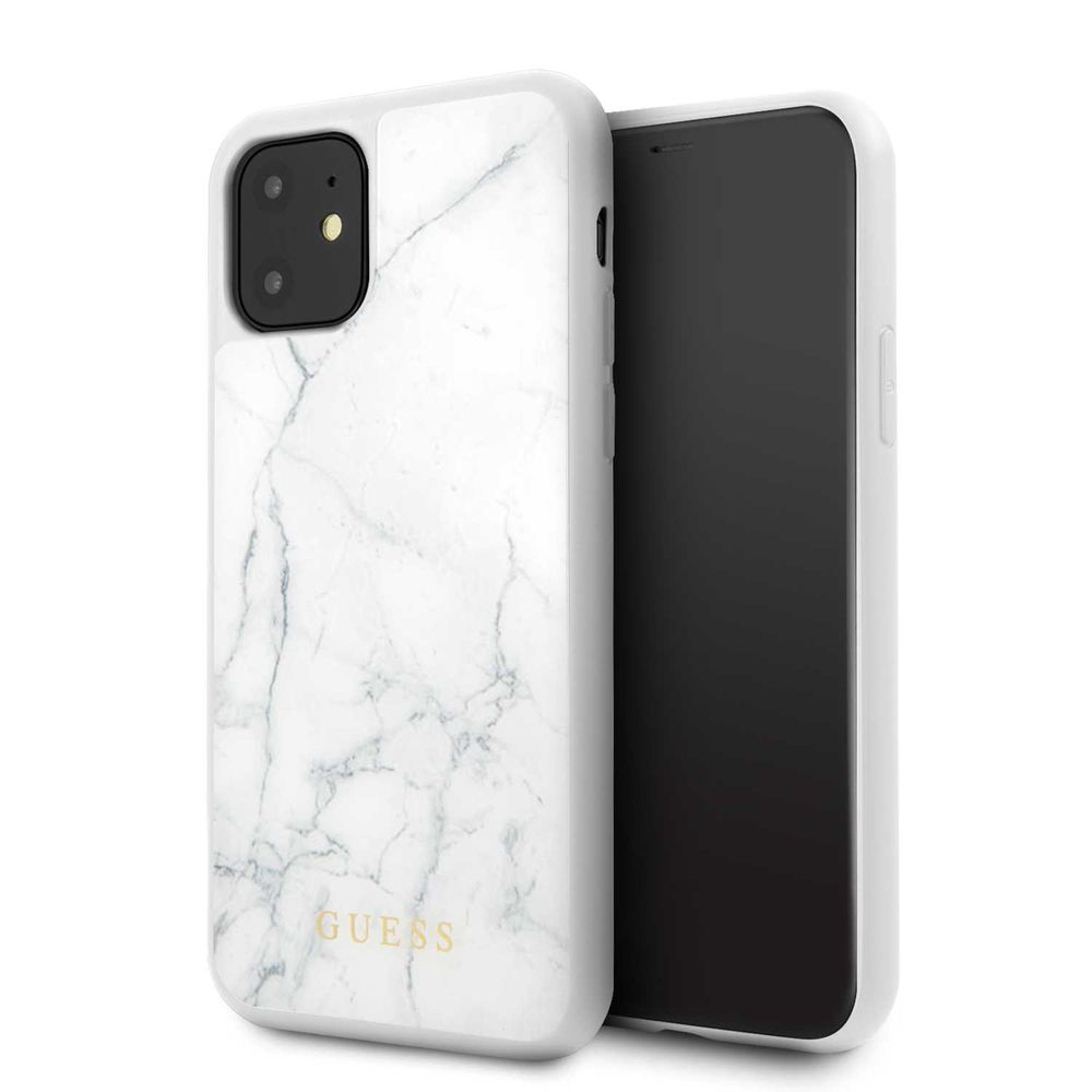 Guess Marble Collection PC/TPU Tempered Glass Case White for iPhone 11