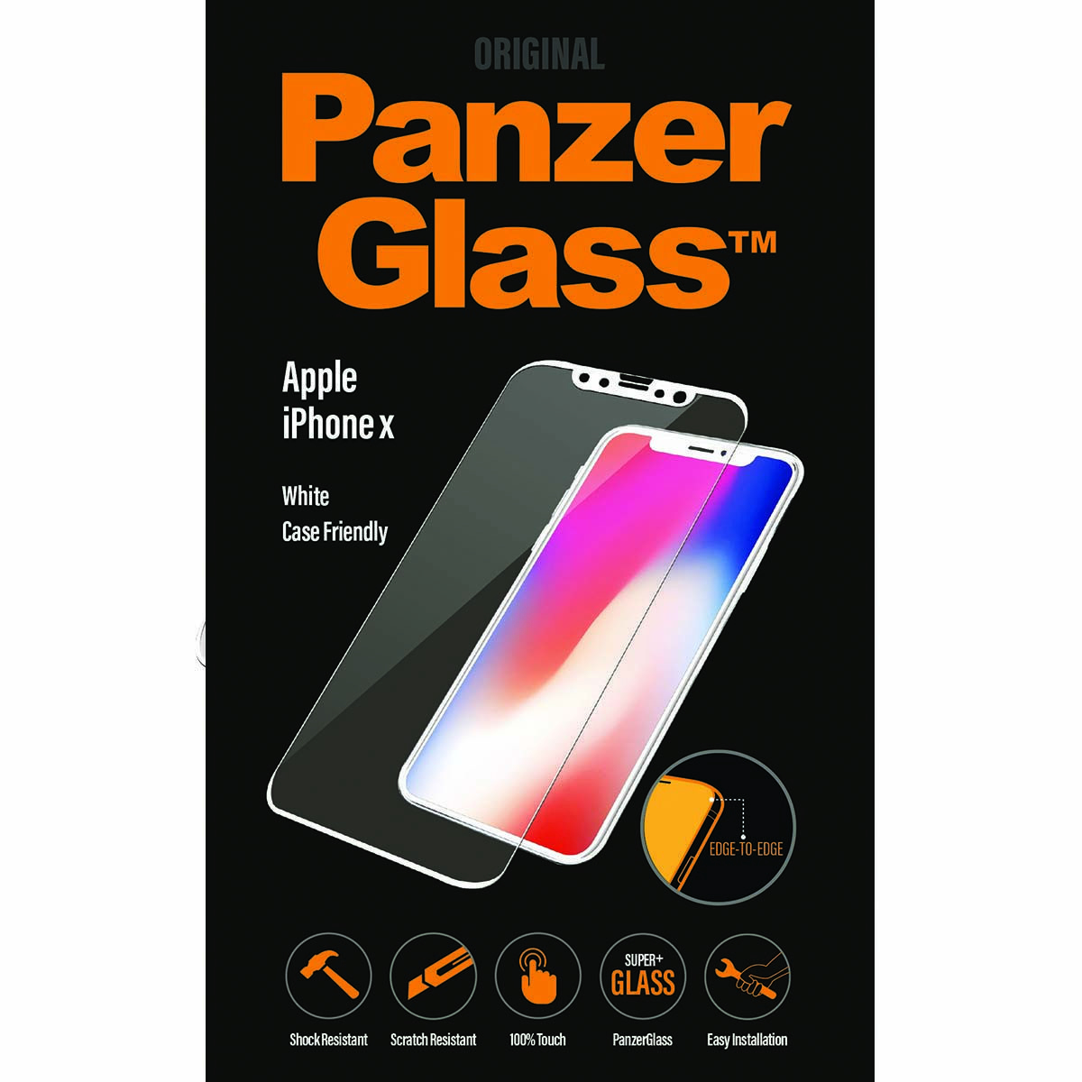 Panzerglass Case Friendly White Screen Protector for Iphone X