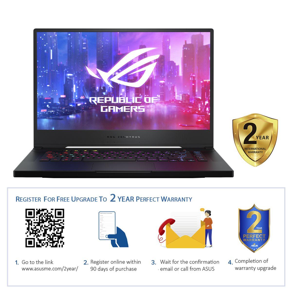 """ASUS ROG Zephyrus GX502GW-AZ088T i7-9750H/16GB/1TB SSD/GeForce RTX 2070 8GB/15.6"""" FHD/240Hz/Windows 10/Black"""