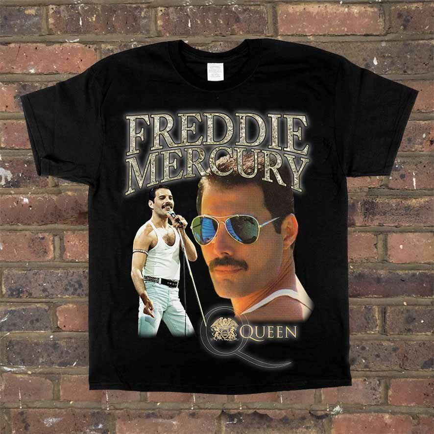 Homage Tees Queen Freddy Mercury Men'S T-Shirt Black Xl