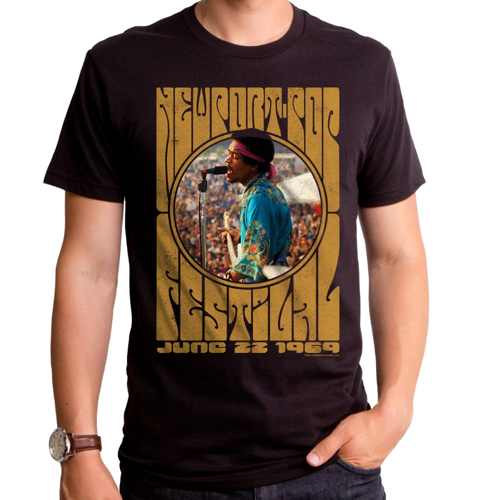 Jimi Hendrix Newport Pop Men'S T-Shirt Black Xl