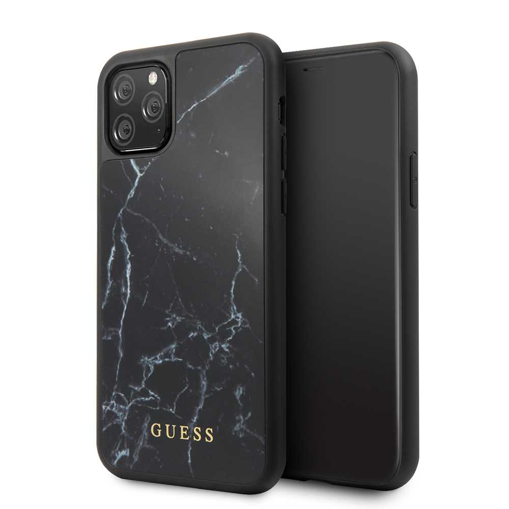 Guess Marble Collection PC/TPU Tempered Glass Case Black for iPhone 11