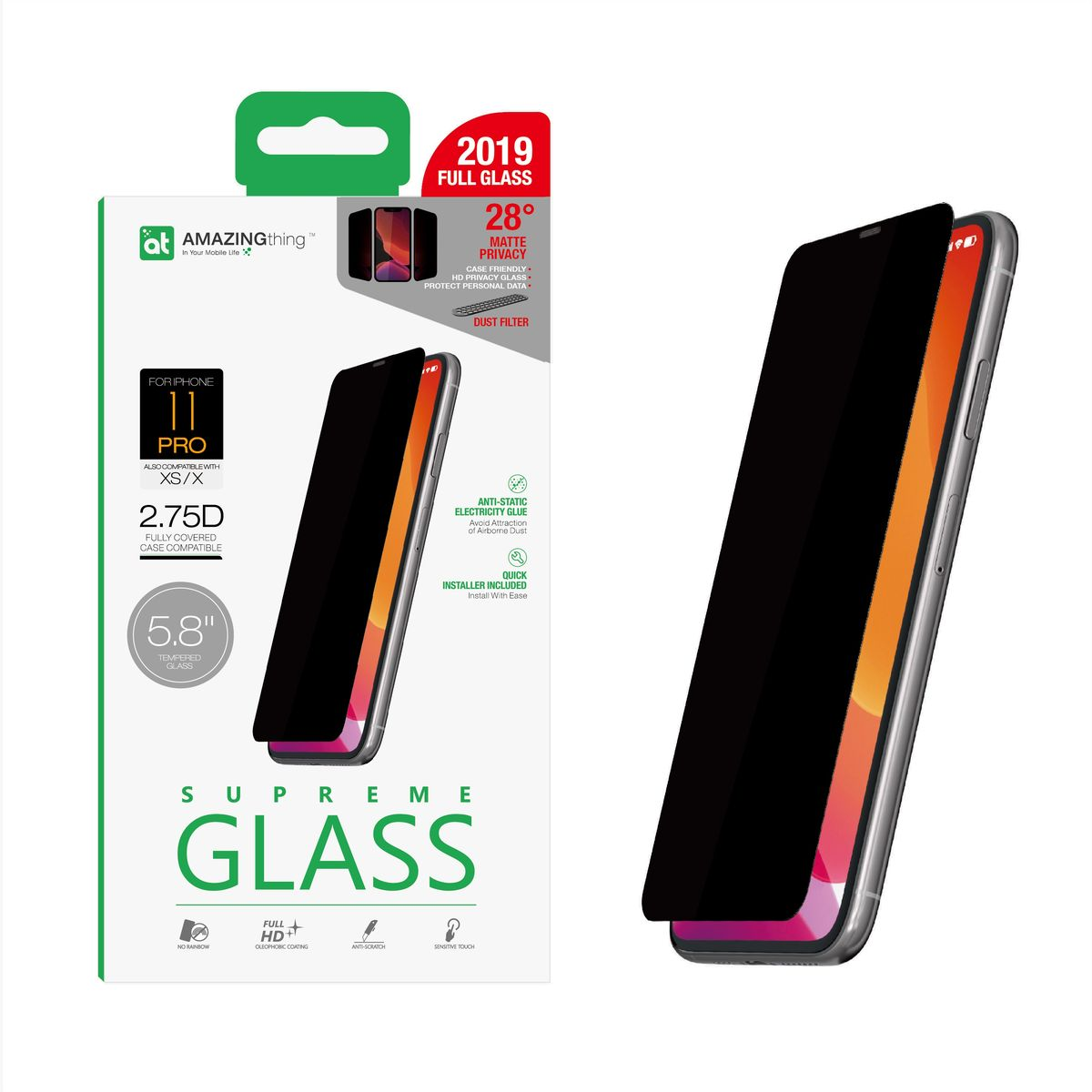 Amazing Thing 0.3M 2.75D Matte Privacy Screen Protector Black for iPhone 11 Pro with Installer