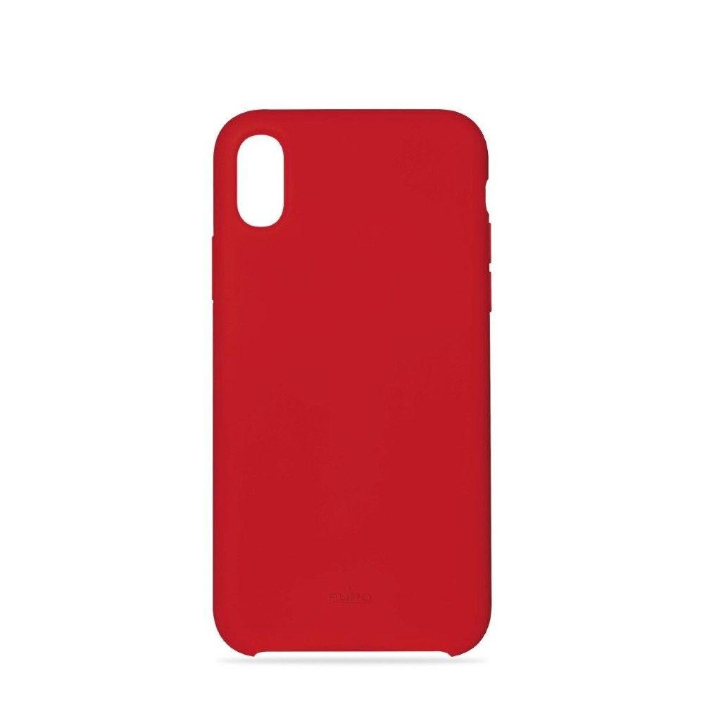 Puro Icon Silicon Case Red with Microfiber for iPhone XR