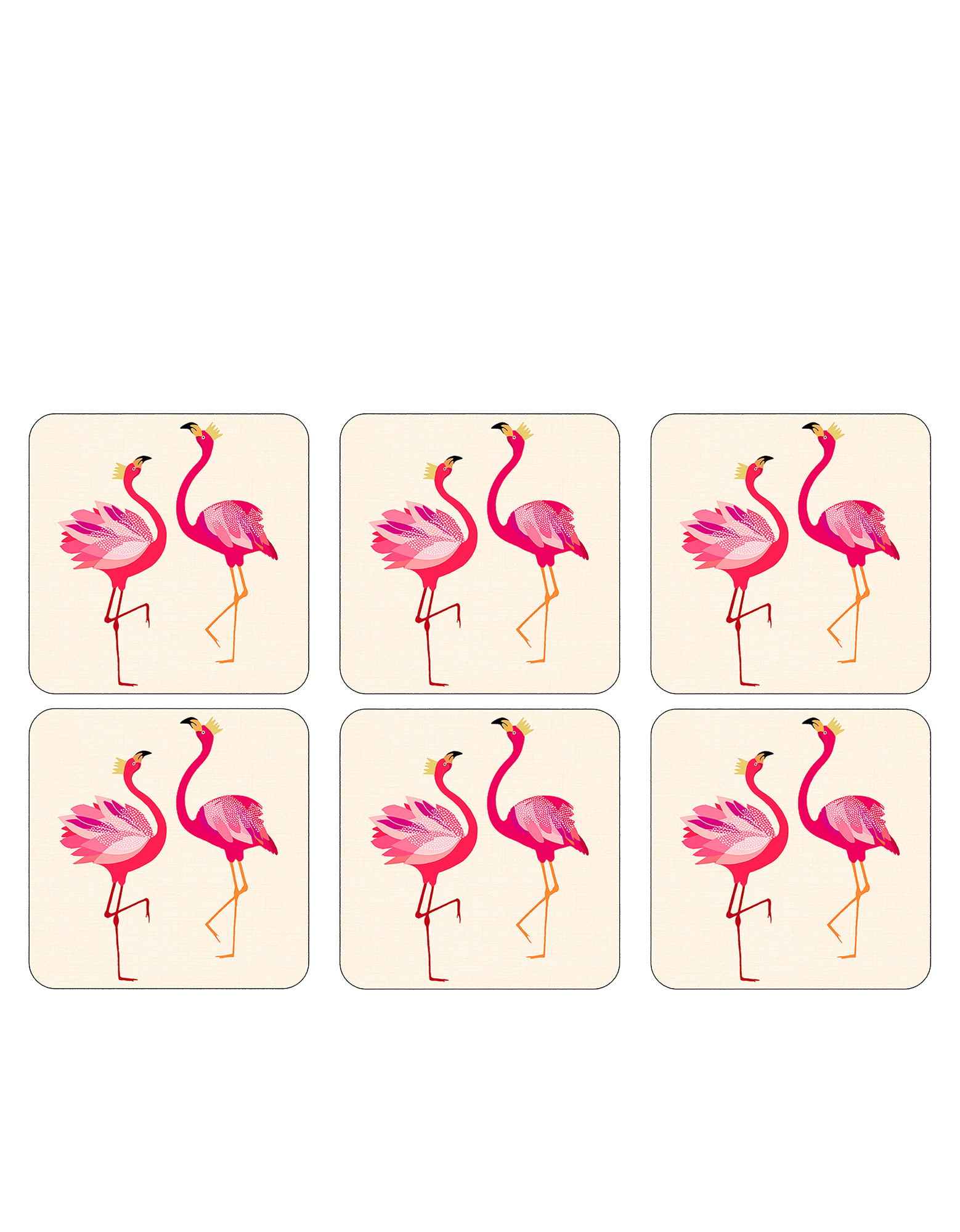 Sara Miller Flamingo Coasters 10.5cm [Set Of 6]