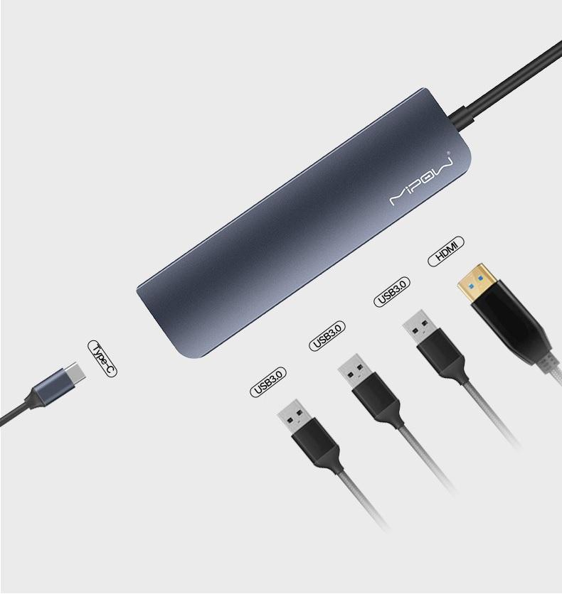 Mipow 5-in-1 Type-C USB Hub Grey