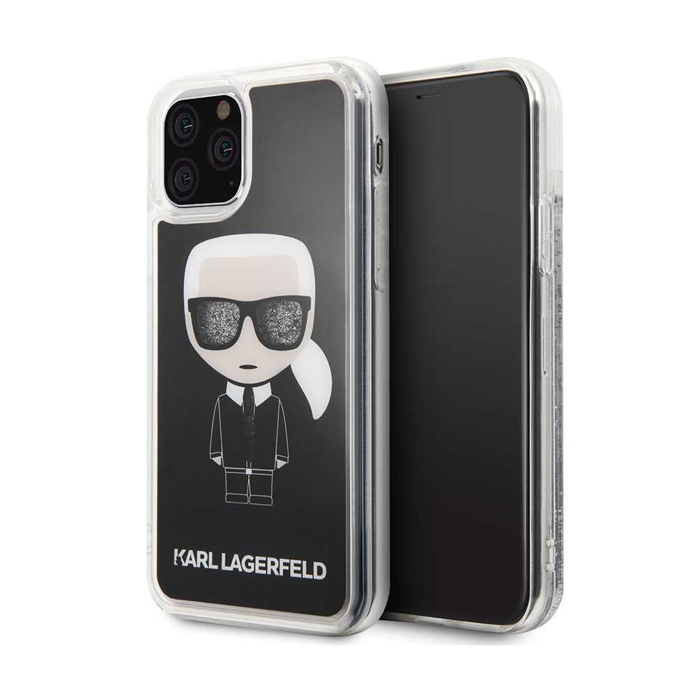 Karl Lagerfeld IKonic Transparent Hard Case Black Glitter for iPhone 11 Pro