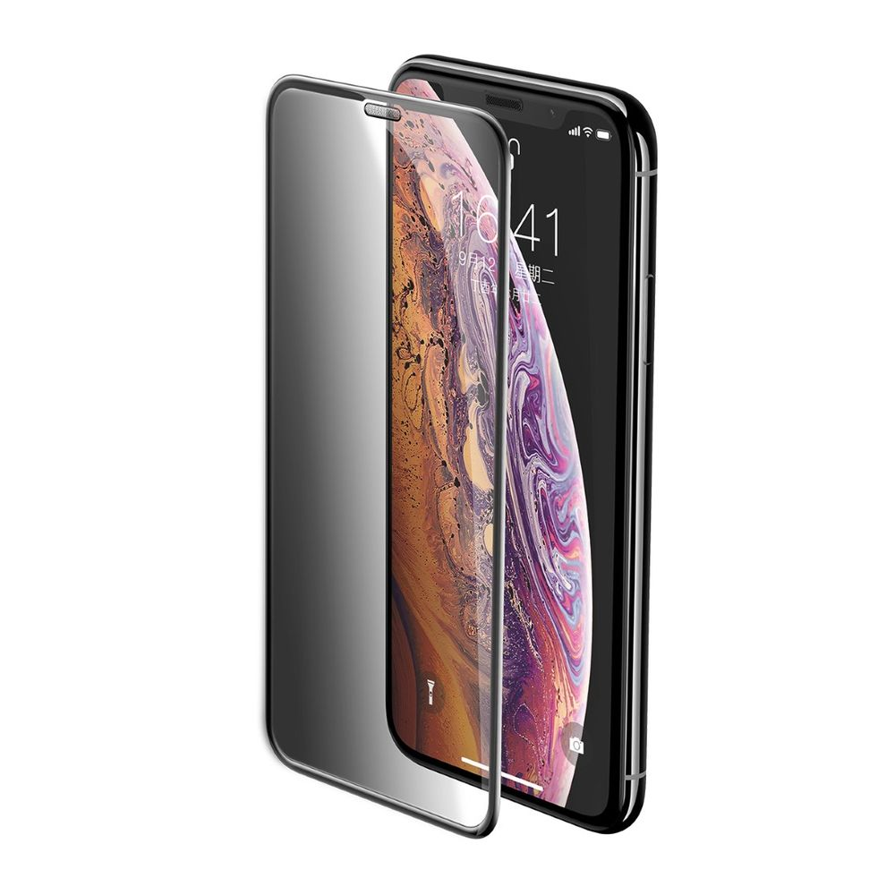 Baseus Full-Screen Curved Privacy Tempered Glass Screen Protector Black For Iphone XS/X