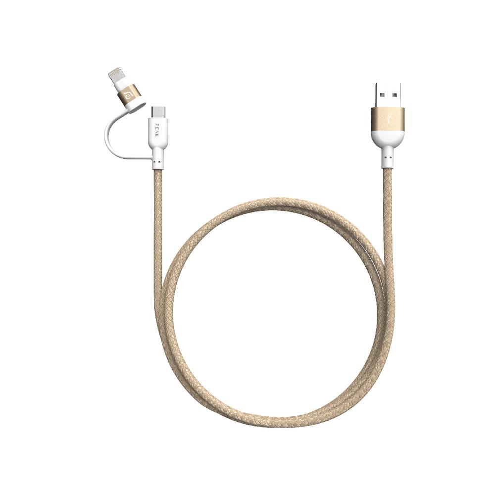 Adam Elements PeAk II Duo MFI Lightning & Micro-USB Cable Gold 1.2m