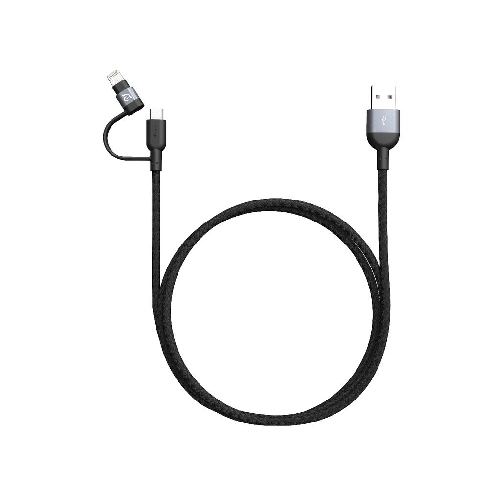 Adam Elements PeAk II Duo MFI Lightning & Micro-USB Cable Grey 1.2m