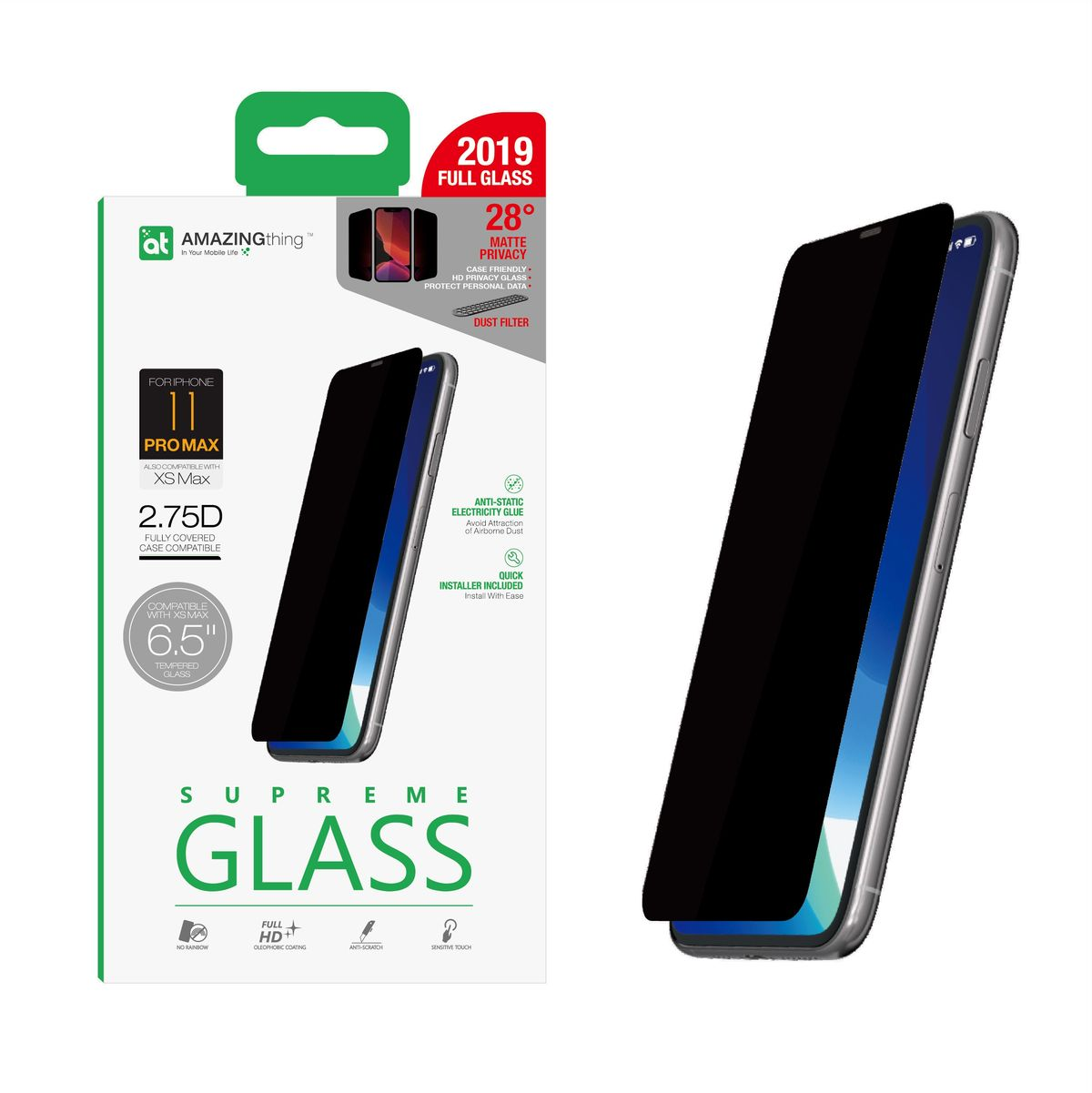 Amazing Thing 0.3M 2.75D Matte Privacy Screen Protector Black for iPhone 11 Pro Max with Installer