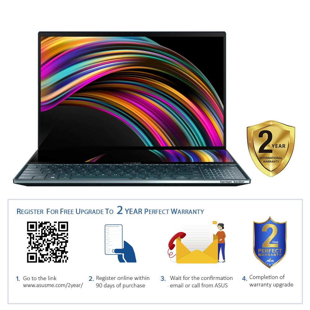 ASUS Zenbook Pro Duo Laptop UX581GV-H2001TS i9-9980HK/32 GB/1TB SSD/32GB/RTX 2060/15.6FHD OLED UHD GL TOUCH 60HZ/WIN10/1A-Celestial Blue