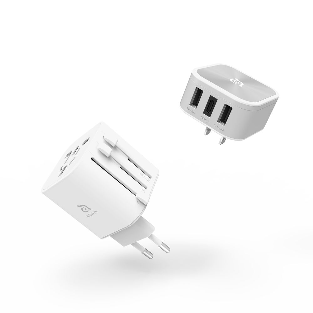 Adam Elements Omnia T3 Silver/White Travel Adapter