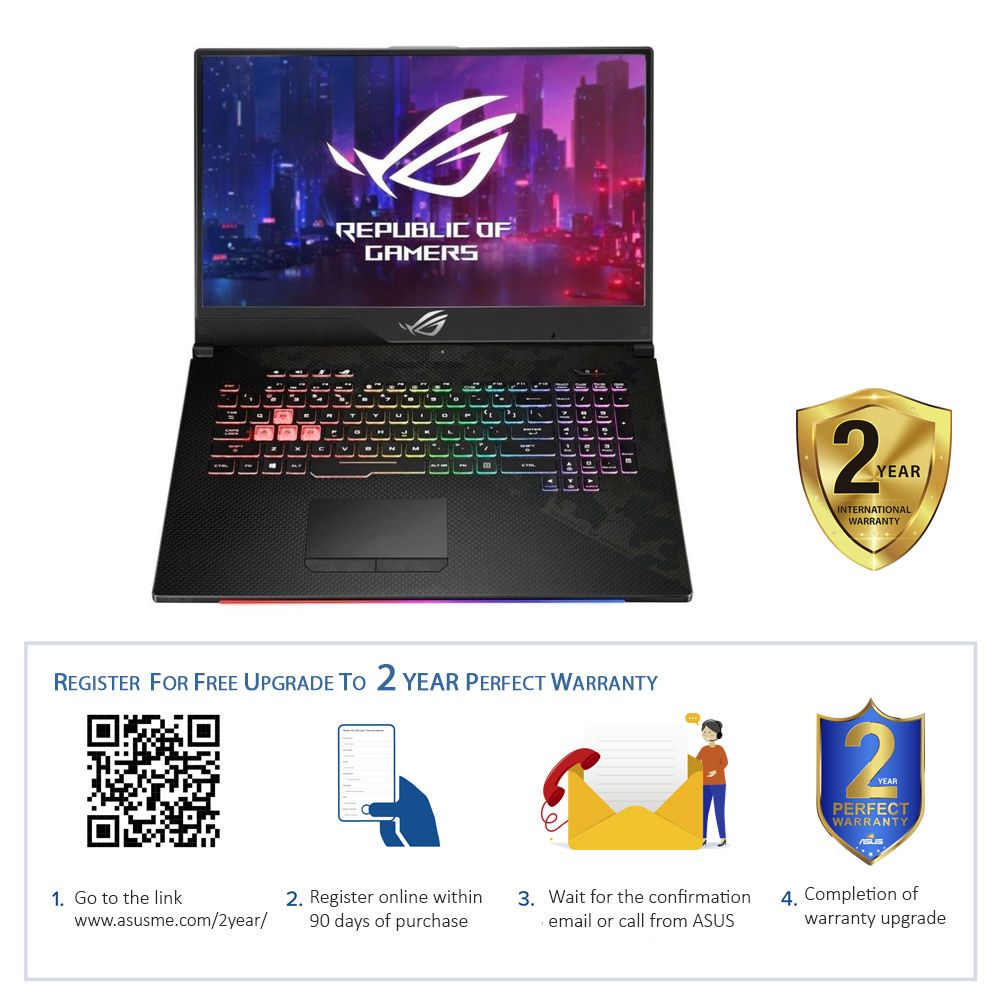 ASUS ROG Strix Scar II 8th Gen Intel Core i7-8750H 2.2GHz/16GB RAM DDR4/1TB+256GB/NVIDIA GeForce RTX 2060 GDDR5 6GB/17.3 Inch FHD/Windows