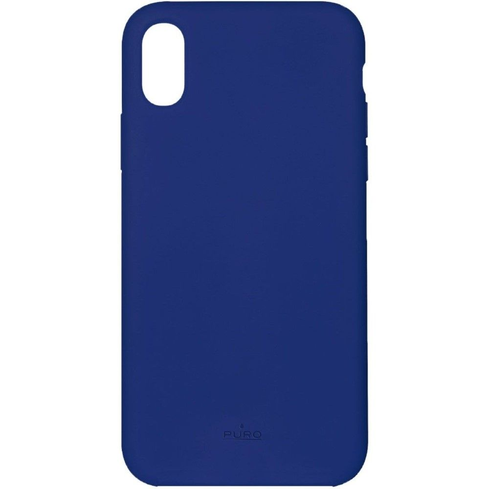 Puro Icon Silicon Case Dark Blue with Microfiber for iPhone XR
