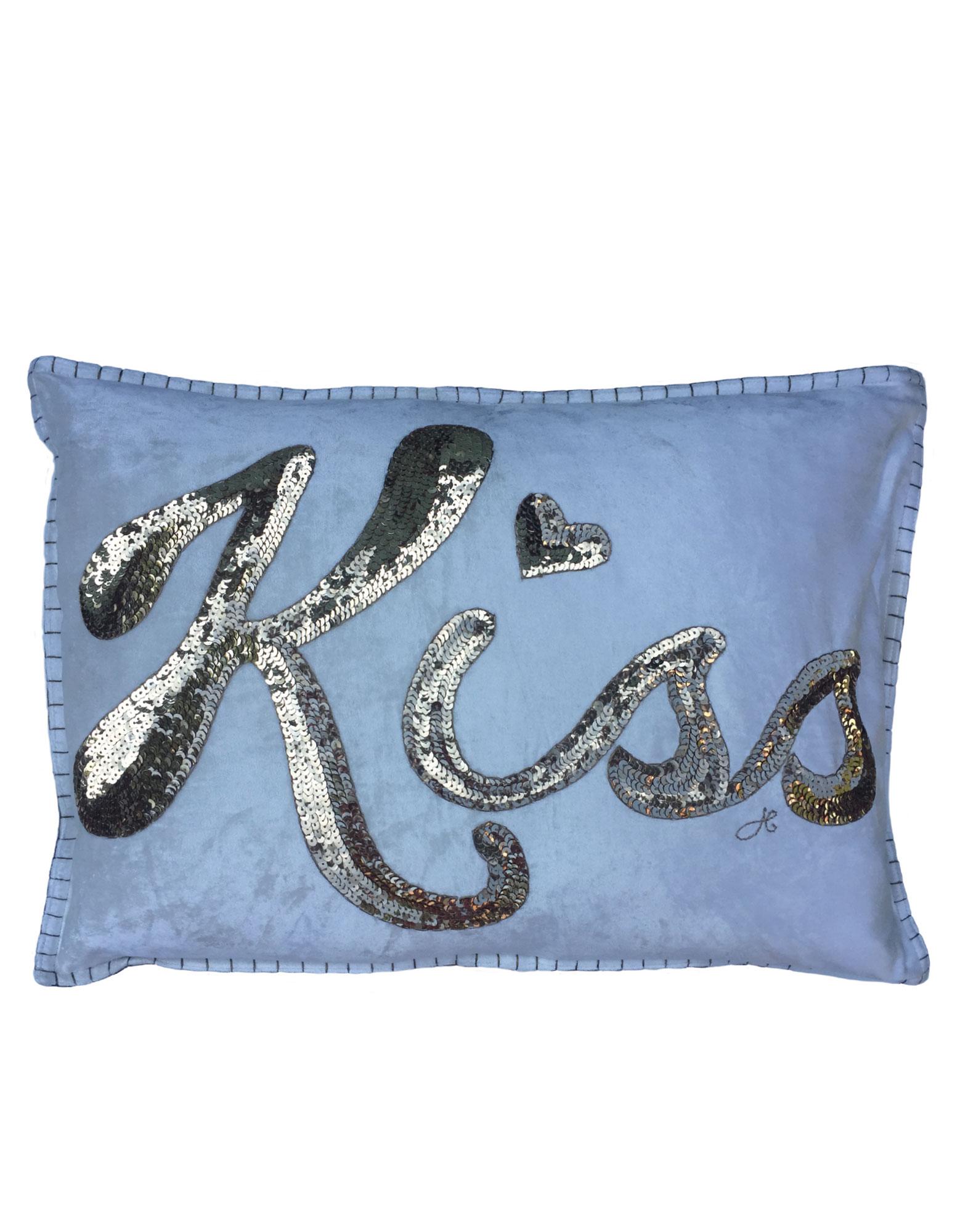 Jan Constantine Glam Rock Sequin Kiss Cushion Velvet Cream