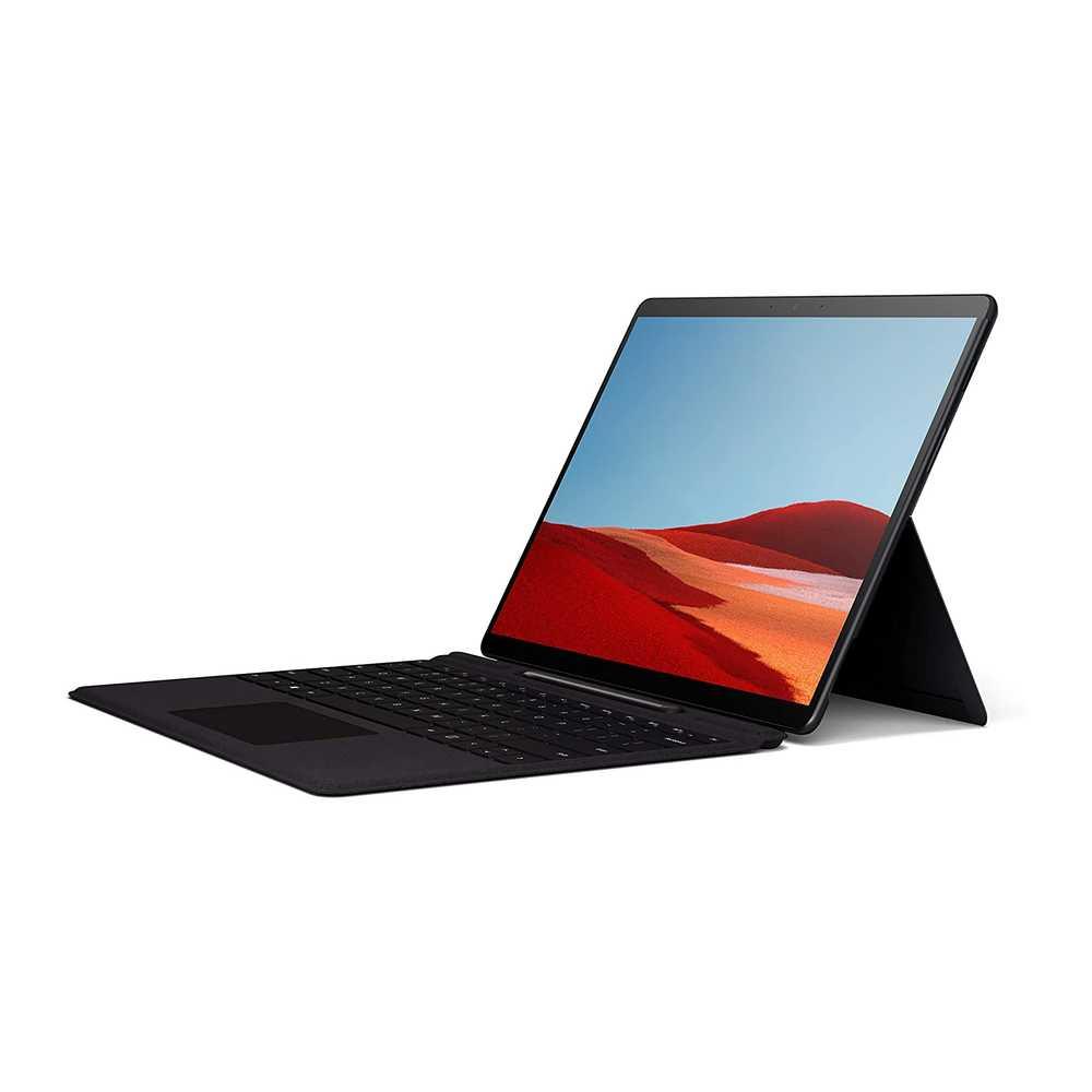 - Microsoft Surface Pro X Laptop + Black Type Cover – SQ18GB128 GB SSDAdreno 685 GPU13 inch Display5 MP 4KWindows 10 HomeBlack