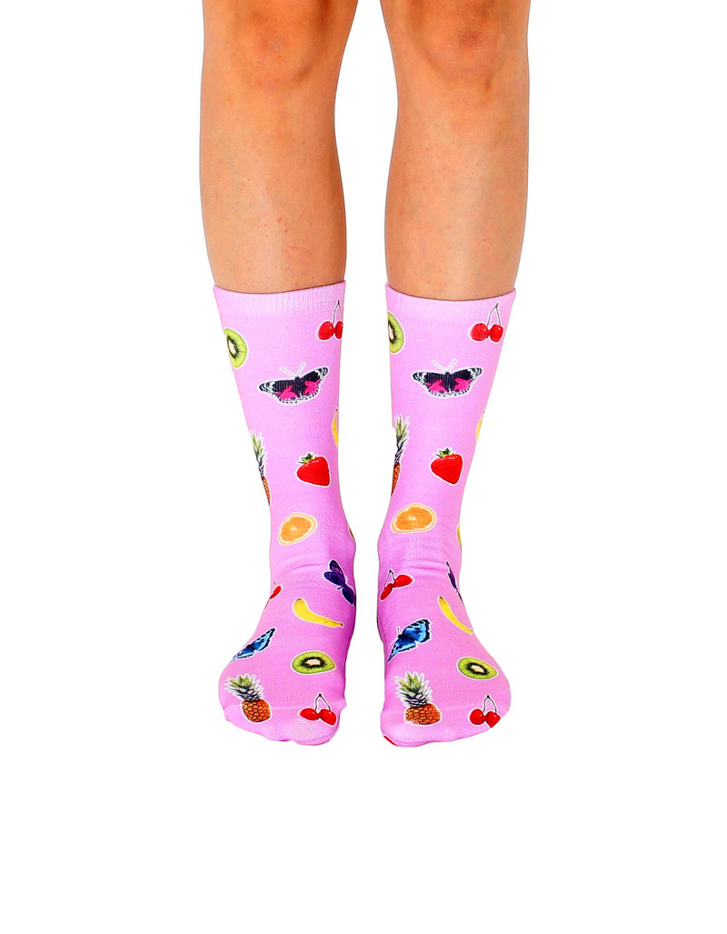 86b46ccd6f2 Living Royal Fruits And Butterflies Unisex Crew Socks
