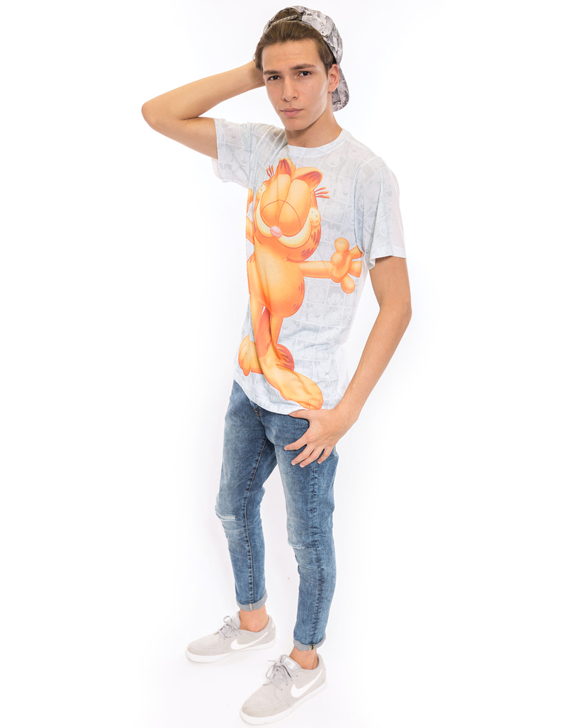 Garfield Free Hugs White Poly Crew Mens Tshirt L