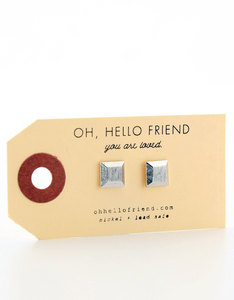 Oh Hello Friend Square 3D Silver Earrings