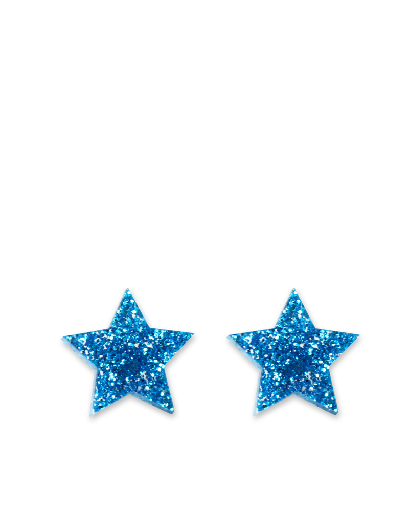 Little Moose E Unicorn Glitter Blue Star Stud Earrings