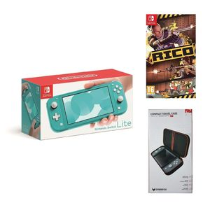 Nintendo Switch Lite Turquoise + Rico + Sparkfox Compact Travel Case Case