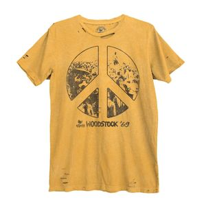 Woodstock Peace Sign Unisex T-Shirt Pigment Sunset Gold