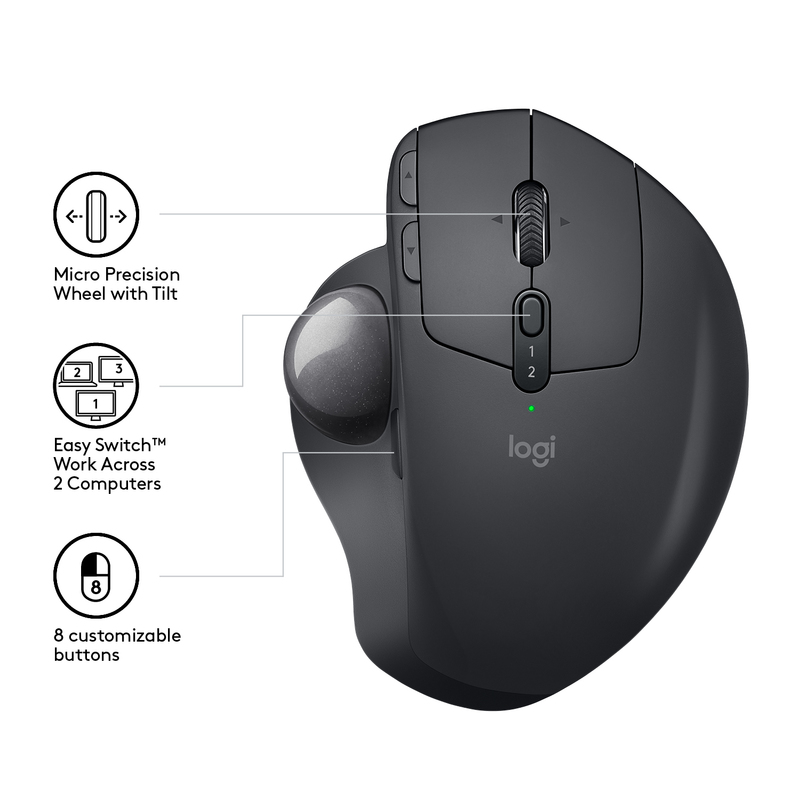 Logitech MX Ergo Wireless + Bluetooth Trackball Mouse Black