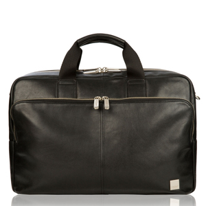 KNOMO AMESBURY BLACK LEATHER BRIEF FOR LAPTOP UP TO 15-INCH