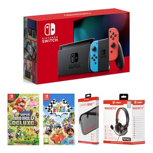 Nintendo Switch Neon Joy-Con + Super Mario Bros U Deluxe + Race with Ryan + Snakebyte Carry Bag + Snakebyte Headset S [Bundle]