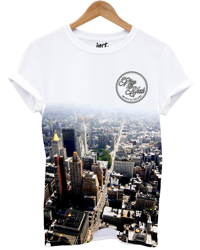 New York All Over White Unisex T-Shirt S