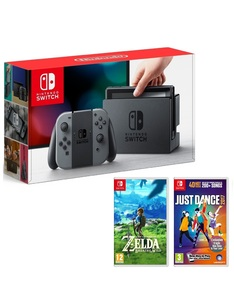 Nintendo Switch 32GB Console with Grey Joy-Con Controller + Legend of Zelda: Breath of the Wild + Just Dance 2017