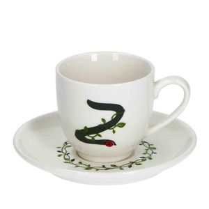 La Procellana Bianca Solotua Coffee Cup with Saucer Letter Z 3 oz