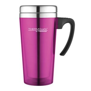 Thermos Thermocafe By Thermos Stainless Steel With Plastic Cover Drinking Mug 400 ml Pink