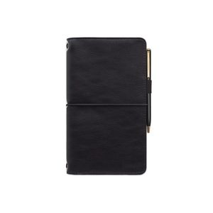 Designworks Leatherette Folio With Pen And Notebook Black With Solid Black Fabric Liner