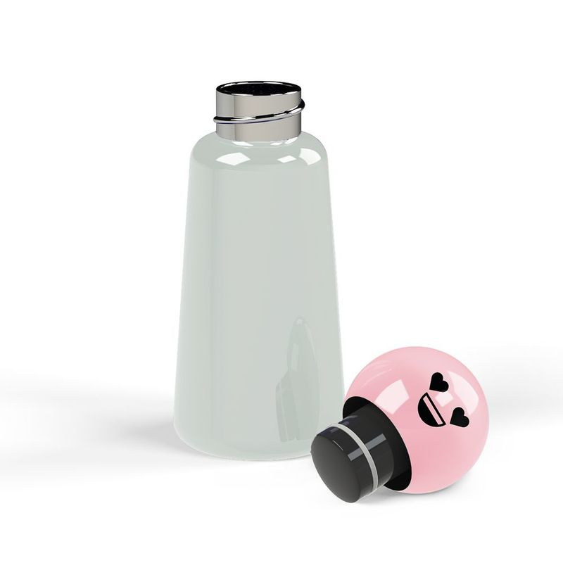 Lund Skittle Bottle Mini Light Grey with Pink Heart Lid 300 ml