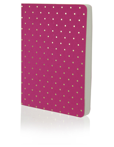 Go Stationery Shimmer A6 Notebook Small Gold Polka Magenta