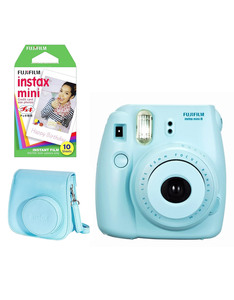 Fujifilm Instax Mini 8 Camera Blue + Case + 1 Film Pack