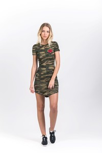Sixth June Camo Dress with Red Flower
