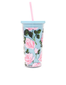 Bando Sip Sip Rose Parade Pink/Turqoise/Green 20oz Tumbler With Straw