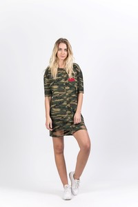 Sixth June Camo Tshirt Dress With Red Flower