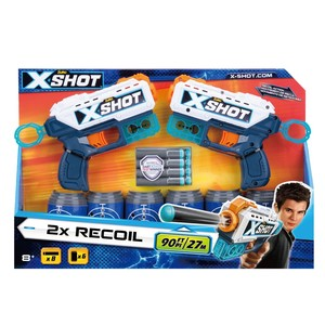 X-Shot 2X Double Recoil Blasters [Includes 6 Cans + 8 Darts]