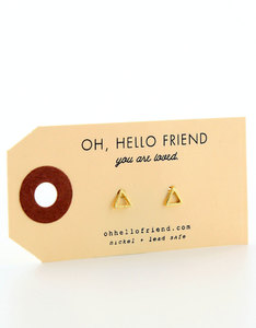Oh Hello Friend Triangle Gold Earrings