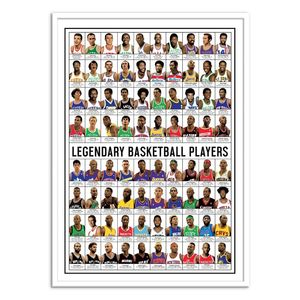 Legendary Basketball Players Art Poster by Olivier Bourdereau [50 x 70 cm]